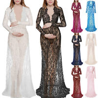 Pregnant Women Sheer Lace Long Maxi Maternity Dress Gown Photo Photography Prop