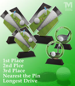 GOLF DAY SOCIETY TROPHY PACK OF 5x EXCLUSIVE TROPHIES *FREE ENGRAVING* SAVE £££