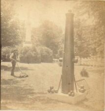 Stereoview of Man Mowing Grass at a Civil War Cemetery w/ Canon Monument c1890s