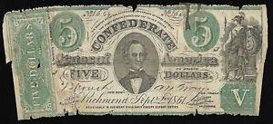 Konföderierten Währung - Five Dollars - 1861 - Richmond, VA
