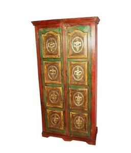 Embossed Antique Vintage Style Wooden Almirah With Brass Finish (Made To Order)