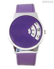 Softech Uomo Designer JUMP HOUR DISC visualizzazione del tempo in pelle Viola Quarzo Watch