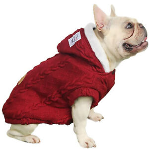 Warm Jumper Sweater Knitwear Coat Apparel Autumn Winter Dog Clothes (M-XXL,Red)