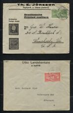 Iceland 1925 Sc #144 - 147 on 4 Different Covers to US, London, Denmark