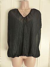 Zara Collection Gr. M (Größe 10) Schwarz Sheer Plissierte Bluse mit Weste gefüttert