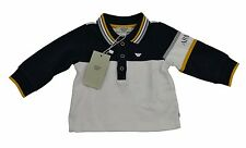 Armani Baby Boy Top Full Sleeve Polo T Shirt Rugby 100% Genuine 6m Navy/White