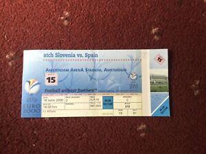 Match 15 Euro 2000 UNUSED Ticket, 18/6/2000 Slovenia v Spain @ Amsterdam