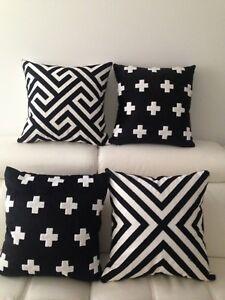Geometric Aztec Black White Cotton Nordic Embroidery Cushion Cover Home Decor 18