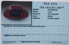 EGL USA Certified Natural purple garnet 1.50ct oval cabochon. GORGEOUS!