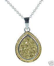 Solid 925 Sterling Silver Teardrop Gold Druzy Pendant Necklace '