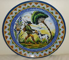 ANTIQUE SPANISH 12 1/4 INCH TALAVERA POTTERY WALL PLATE