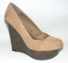 "Qupid Women Shoes 6 M Brown Suede Platform Wedges 4"" Heels Closed Toe Dress A11"