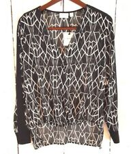 Bisou Bisou S Semi Sheer Blouse Woven Top Black White Geometric Long Sleeve