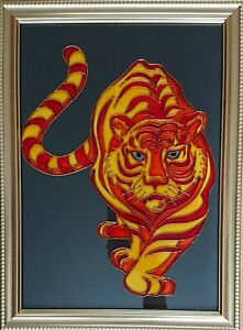 Original art Tiger painting on glass New hand painted framed