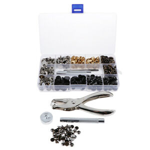 146Set Leather Snap Fastener Kit Brass Snaps Button Press Studs Punch Pliers