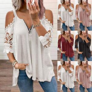 Womens Cold Shoulder Zipper V Neck T-Shirt Blouse Ladies Pullover Tops Plus Size