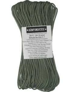 Foliage Green 550LB 100% Nylon Paracord Military Type III Rope 100 Ft - USA Made