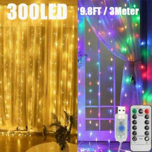 3m Curtain Fairy Hanging String Lights 300 LED Wedding Party Room Decor Light CN