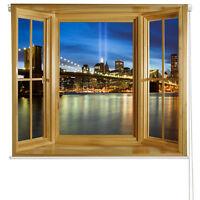 RB6 - PRINTED ROLLER BLIND OF NEW YORK BROOKLYN BRIDGE AT NIGHT WINDOW VIEW
