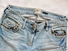 River Island Ladies Jeans Size 6 S SKINNY studs  ripped knee light blue 26/30