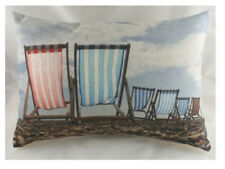 "18"" X 13"" DECKCHAIRS BEACH Seaside Nautical Cushion Evans Lichfield DP099 Chairs"
