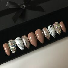 Hand Painted False Nails Coffee Nude Chrome Diamond Stiletto Press On Nails