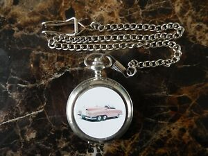 FAB ONE LADY PENELOPES CAR THUNDERBIRDS CHROME POCKET WATCH WITH CHAIN (NEW)