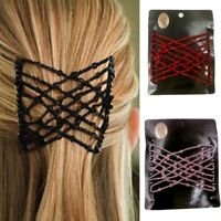 Women Beads Stretchy Hair Clips Elastic Slide Easy Double Hair Comb Accessories