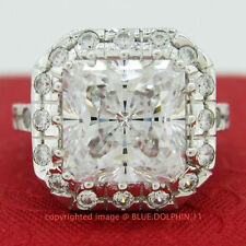 Cubic Zirconia White Gold Solitaire with Accents Fine Rings