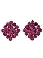 Square Fushia Pink Swarovski Crystal Elements Titanium Post Earrings