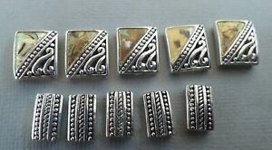 10 beige tones MOP effect double holed bracelet beads . Gorgeous beads!