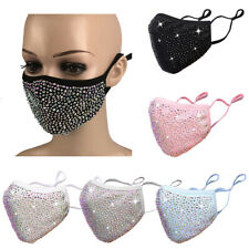 Crystal Rhinestone Bling Face Mask Washable With Filter Pocket Face Cover Masks