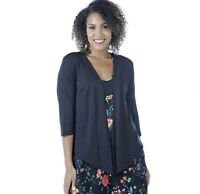 NEW Kim & Co. Black Silky Linen Look Long Front Bolero Cardigan Size XS