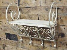 Beige Metal Wall Shelf Shabby Chic Vintage Style Hooks Garden Display Bathroom