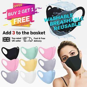 Reusable Face Mask Washable UK Breathable Black Pink Blue Grey White Green