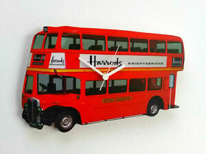 LONDON RED DOUBLE DECKER BUS WALL CLOCK HARRODS SIGN HAND MADE WOODEN CLOCK