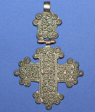 Vintage Hand Made Hinged Silver Plated Filigree Cross Pendant