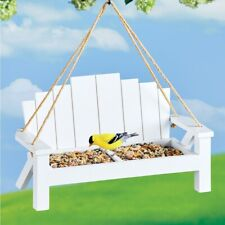 White Bench Swing Bird Seed Bird Feeder Porch Tree Hanging
