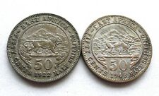 BRITISH EAST AFRICA 50 CENTS X 2: GEORGE V 1922 + GEORGE VI 1943, .250 SILVER.