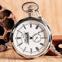 Retro Open Face Silver Railway Engine Mechanical Hand Winding Pocket Watch Chain