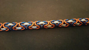 New York Mets Inspired Anodized Aluminum Byzantine Chain mail Bracelet
