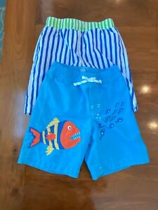 Boys Swim Shorts Gap Boutique Size 5 years Old Applique Blue Green Fish Frog