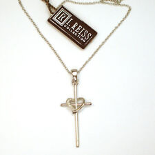 Special! New I.REISS 14k White Gold Diamond Cross Heart Pendant/Necklace