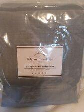 Pottery Barn Belgian Flax Linen Drapes Ivory 50x84 Blackout Lining Smoke Gray