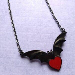 New Alchemy Gothic Pewter Sombre Desir Blak Bat Heart Pendant Necklace UK Made