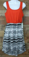 Kiss & Cry Dress Midi Knee-Length Aztec Print Orange Black White A-Line Size M