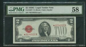 1928G Legal  Tender  Note  Fr# 1508*  $2 dollars   PMG 58