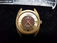 VINTAGE BROWN AND GOLD DIAL WALTHAM DATE 17 JEWEL AUTOMATIC WATCH RUNS