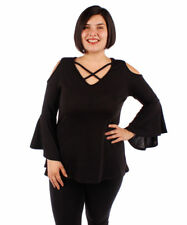 Black Tunic Top Flared Bell Sleeves Yummy Plus Size 5X