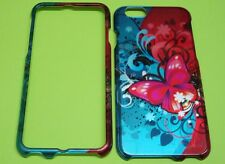 Cute Red Aqua Butterly Floral Protective Snap On Case Cover for Apple iPhone 6